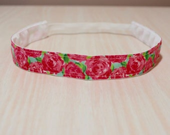 Non-Slip Headband - Lilly Pulitzer Inspired, Roses