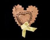 Victorian Hair Love Token on Silk Heart