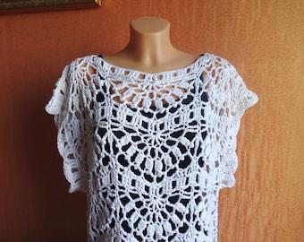White Hand Crochet Tunic - Crochet Top - Crochet Shirt - Swimsuit Cover