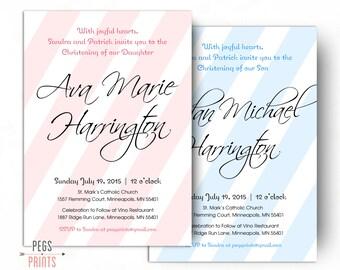Striped Christening Invitation Girl - Christening Invitation Boy - Christening Invitations - (Printable) Baptism Invites - Baptism Invite