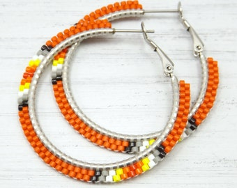 Rustic Orange Fire Beaded Hoop Earrings - Orange Hoop Earrings - Orange Beaded Earrings - Jewelry Gift for Her