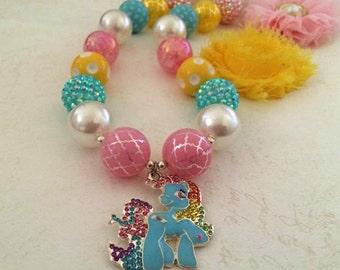 My Little Pony Necklace, Chunky Necklace, Bubblegum Necklace, Girls Jewellery, Australian made