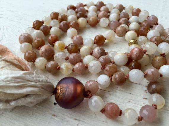 Fertility Mala Beads - Moonstone Mala Necklace - Silk Sari Tassel Necklace - Goddess Mala Beads - Yoga Jewelry - Meditation Gift - Yoga Gift