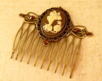 Cameo hair comb with fairy in brown bronze Fantasy Hair Girls gift idea