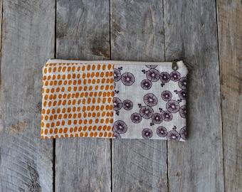 Hand Screen Printed Linen Zipper Pouch, B2