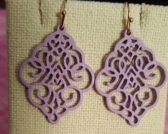 BeautifulnFiligree Earrings, Delicate Earrings, Filigree Earrings, Blue, Lavender, Gray