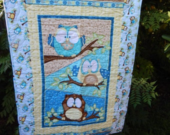Handmade Teal Owls Baby Quilt