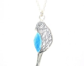 Sterling Silver Enamelled Bird Necklace