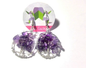 Tree of Life Earrings with Amethyst's chips