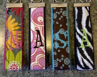 Custom Embroidered Initial Wristlet Keyring