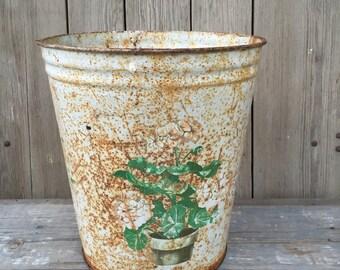 vintage metal waste basket, trash can