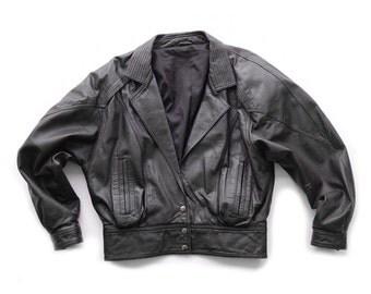 Black Leather Bomber Jacket 80s | S M | Vintage
