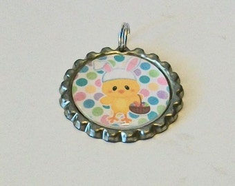 Easter Spring Polka Dot Yellow Chick with Bunny Ears Flattened Bottlecap Pendant Necklace