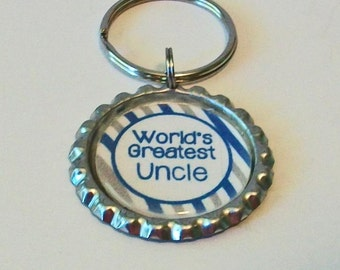 Blue and Gray World's Greatest Uncle Metal Flattened Bottlecap Keychain Great Gift