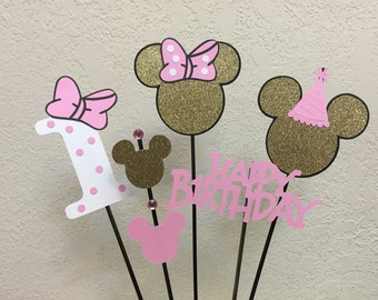 Minnie Mouse Pink and Gold Birthday Centerpiece Table toppers/skewers