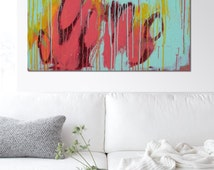 Landscape Abstract painting, Dancing Turquoise and Pink (16-39) - Acrylic Modern Art, Original Hand Made, Abstract Painting, Large painting
