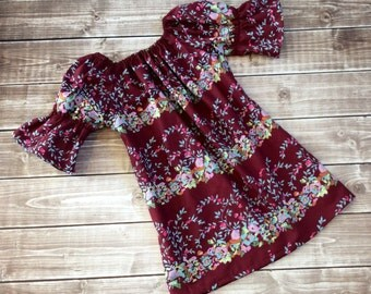 Burgundy peasant dress