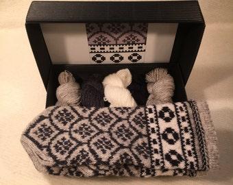 "The Latvian Traditional Mitten Pattern kit ""Knit like a Latvian"": GRAY"