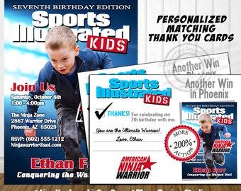 American Ninja Warrior Thank You Card American Ninja Warrior Invitation American Ninja Warrior Birthday Sports Illustrated invite