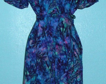 "Reduced — 50s Vintage Plus Size Cotton ""Ann Taylor"" Splash Print Rockabilly Day Dress — Size L, 12-14"