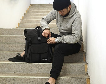 Black 1000D Cordura nylon, Wally pro messenger backpack, bike messenger,cycling bag,waterproof,durable,Fordma,courier