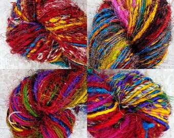 Handspun Pure Silk Art Yarn, Fine, Multicolour, Vibrant Recycled Sari Silk (From New Fabric)  'Mandala' 100 grams approx 180yards/170metres