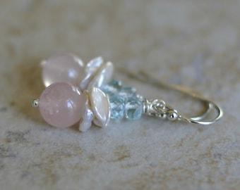 Rose quartz earrings, keishi pearl earrings, Swiss blue topaz earrings, gemstone earrings, bridal earrings, wedding jewelry, gift for her