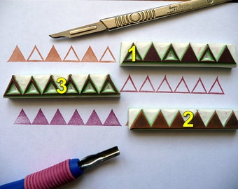 Triangle Stamps. Geometric Hand Carved Rubber Stamps, Card Making, Scrapbooking