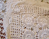 Hand Crochet Cotton Ecru Tablecloth - 64 x 83 inches - Perfect for your Cottage Chic Home or Boho Wedding Table
