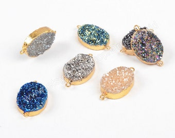 20x15mm Oval Gold Plated Natural Agate Titanium Druzy Connector Double Bails Sparkling Rainbow Drusy Gemstone Jewelry Handmade Craft G0770