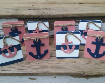 Set of 10 navy and coral table numbers, Nautical wedding table numbers, seaside wedding, beach wedding