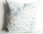 Blue splatter pillow cover, patterned textile home decor, natural hemp & organic cotton, eco friendly cushion cover, throw pillow