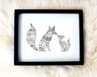 Fox & cub, parent/child, hand drawn art framed print, perfect mothers or fathers day gift, childrens room/nursery