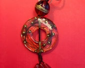 Vintage Handcrafted Ruby Red and Gold Colored Pendant w/ Tassle