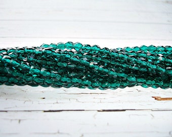 20 Emerald Green Fire Polished Faceted Beads 4 mm