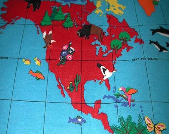 Cranston VIP  World Map Cotton Hanging and Quilting 100% Cotton