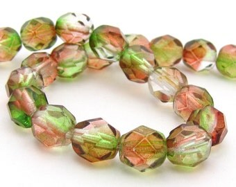 NEW Peach Pear Dual Coat 6mm Facet Round Czech Glass Fire Polished Beads #1791