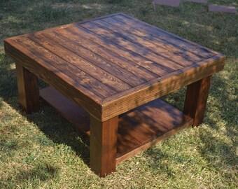 Square Coffee Table w Bottom Shelf