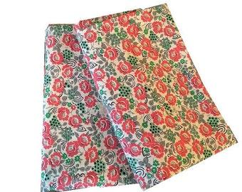 "Vintage Flour Sack Cloth, 36"" x 47"", Rose, Gray & Green Floral"