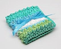 Cotton Washcloth, Crochet Washcloth, Makeup Washcloth, Face Scrubbie, Exfoliating Washcloth- blues and greens
