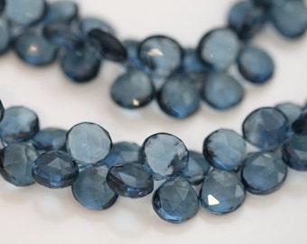 London Blue Quartz Faceted Heart Briolettes, 10 mm, 6 beads GM2216FH/10/6 #380