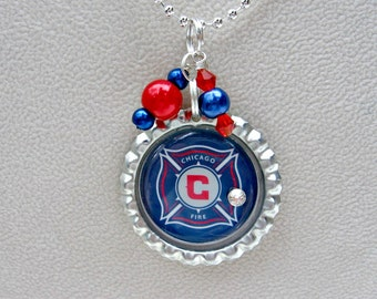 Chicago Fire Soccer Necklace, Chicago Fire Jewelry, Soccer Gift, Soccer Mom, Soccer Necklace, Chicago Fire Home, Pro Soccer, Team Jewelry