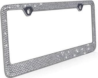 Rhinestone License Plate Frame, Chrome/Metal 12 Row Bling Frames Diamond Crystal Glitter Auto Accessory, Custom Decor for Car Truck Van SUV