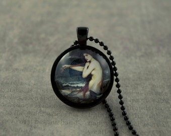 Mermaid Necklace, Mermaid Fantasy, Mermaid Art, John William Waterhouse, The Mermaid, Wearable Art, 1 Inch Circle Glass Dome Necklace