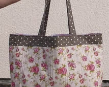 Handmade Pink flowers, Ladies Tote Bag, Brown color, Polka dot, cotton linen, fabric bags, Women's Shoulder Bag, Shopping Lined shopper Tote