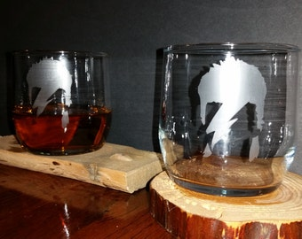 David Bowie Etched Glasses