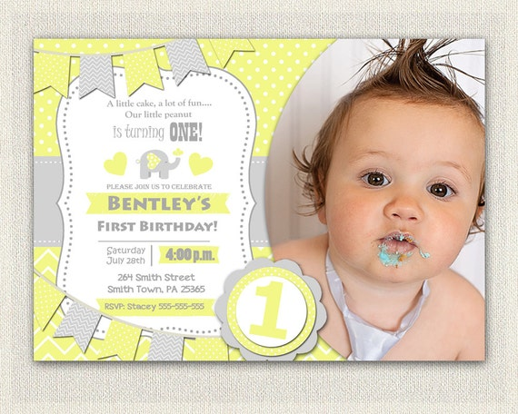 Boys Elephant INVITATION Boys 1st Birthday Invite Yellow Grey Gray
