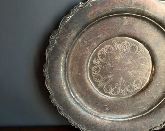 Large Round Silver Tray / Platter