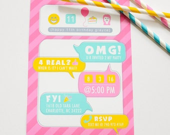 Social Media Tween Teen Birthday - Printable Customized Invitation