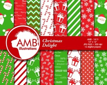 Christmas Digital Paper, Santa Claus Paper Patterns, Holiday Backgrounds, Candy Cane Papers, Scrapbooking,  Commercial Use, AMB-1413